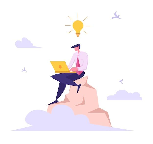 Homme d'affaires avec ordinateur portable travaillant au sommet de l'illustration de la montagne