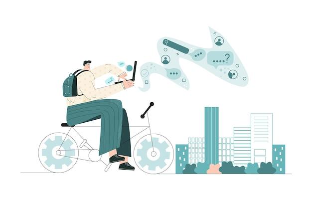 Homme d'affaires avec ordinateur portable travaille à vélo dans une rue de la ville routine matinale des employés homme urbain