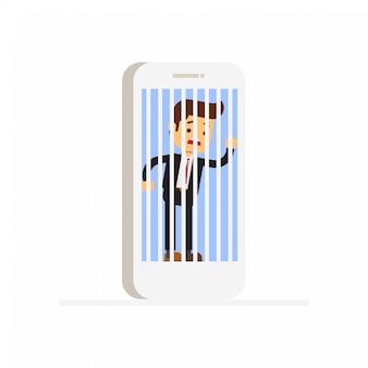 Homme d'affaires en otage des technologies modernes