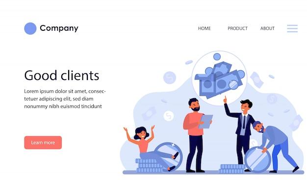 Homme d'affaires parlant aux clients de l'investissement et de l'épargne. modèle de site web ou page de destination