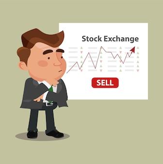 Homme d'affaires parlant du marché boursier