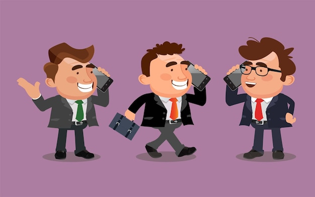 Homme d'affaires parle au téléphone dans des poses différentes