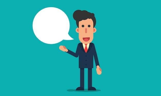 Homme d'affaires parle avec bulle de dialogue