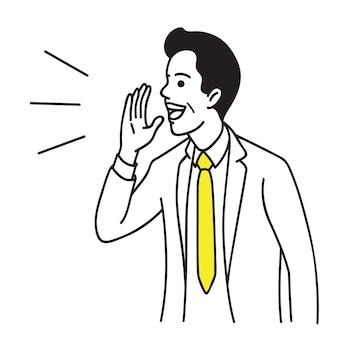 Homme affaires, parler, à, main, lever