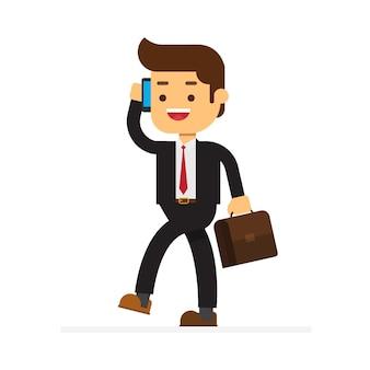 Homme d'affaires parler sur un téléphone portable dans un bureau