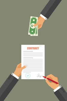 Homme affaires, payer, contrat, illustration