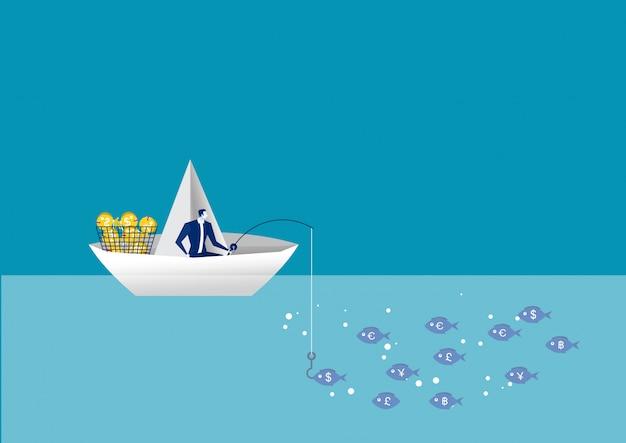 Homme d'affaires pêche sur un bateau en papier. trouver des solutions de leadership d'entreprise de succès.
