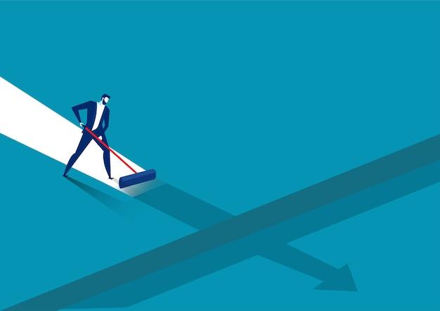 Homme d'affaires peindre son propre chemin vers le succès sur fond bleu