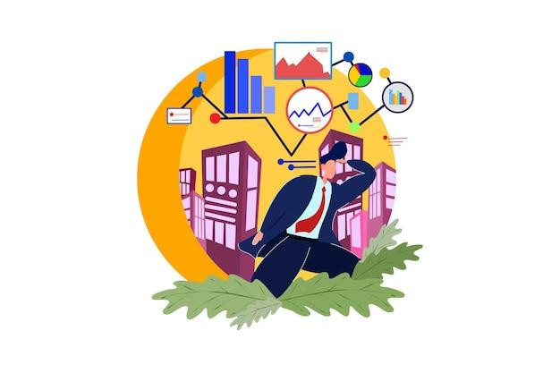 Homme d'affaires pensant aux données et au graphique
