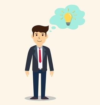 Homme d'affaires pensant aux idées idée créative et concept d'inspiration