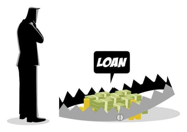 Homme d'affaires pensant prendre des prêts