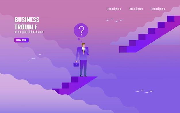Homme d'affaires pense sur l'écart d'escalier
