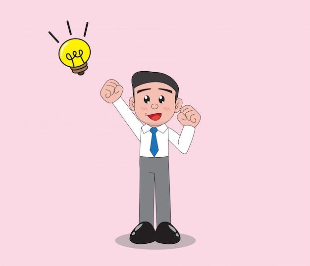 Homme d'affaires pense idée pour réussir