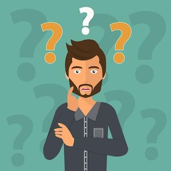 Homme d'affaires de pensée entouré de points d'interrogation