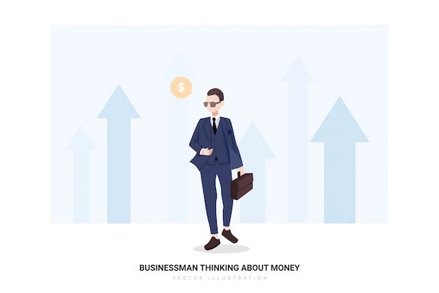 Homme affaires, penser argent
