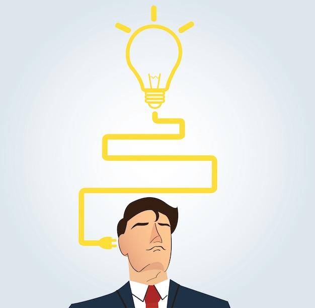 Homme affaires, penser, à, forme ampoule