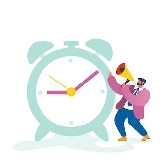 Homme d'affaires, personnage de chef d'entreprise criant au mégaphone debout à l'énorme horloge de gestion du processus de travail au bureau isolé sur fond blanc.