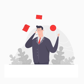 Homme d'affaires personnage concept illustration appel homme d'affaires temps document accord commercial accord