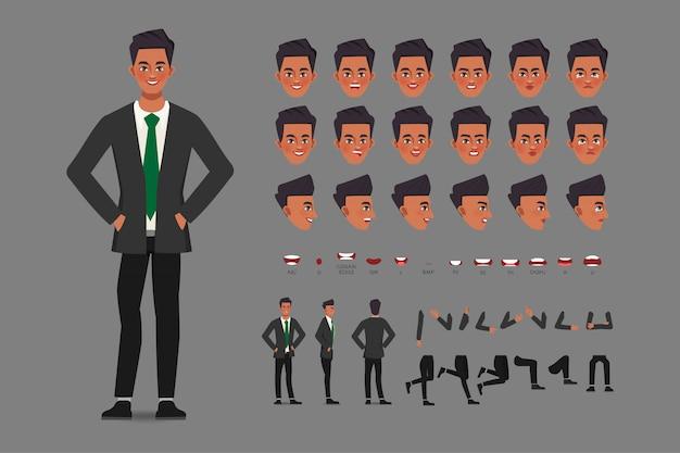 Homme d'affaires de personnage de création de dessin animé en costume pour la bouche d'animation et la conception de mouvement.