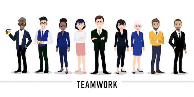 Homme d'affaires et personnage de dessin animé de femme d'affaires sur fond blanc