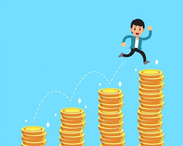 Homme d'affaires de personnage de dessin animé sautant par-dessus les piles d'argent