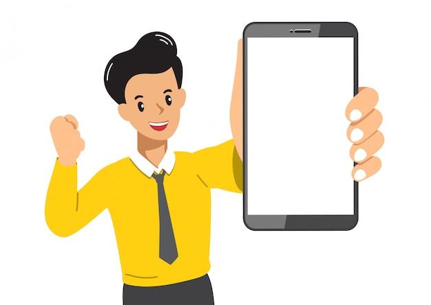 Homme d'affaires de personnage de dessin animé de vecteur avec smartphone