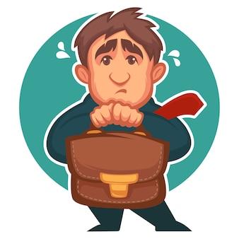 Homme d'affaires peur, personnage de dessin animé avec une émotion déprimante sur le visage