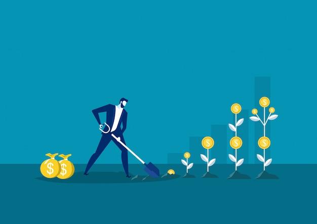Homme d'affaires planter un arbre d'argent ou la cueillette de dollars d'arbre d'argent. croissance de l'entreprise, illustration