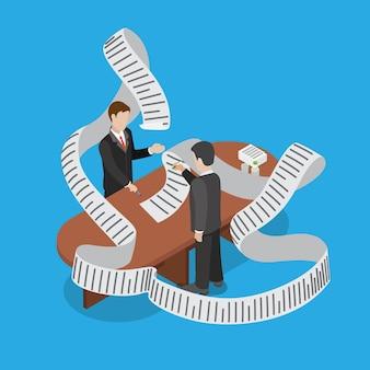 L'homme d'affaires plat isométrique traite le paiement en retard de la facture budgétaire retarde l'entreprise conceptuelle d'isométrie 3d