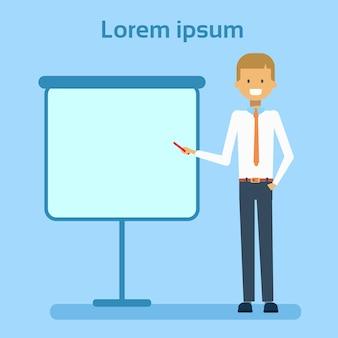 Homme affaires, pointage, vide, tableau blanc, projection, copie, espace, présentation, homme affaires, ou, conférence, concept