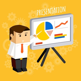 Homme d'affaires pointant sur les graphiques et diagrammes du tableau de présentation, les données et l'analyse, les statistiques et la croissance.
