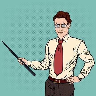 Homme d'affaires de pop art avec bâton de pointeur.