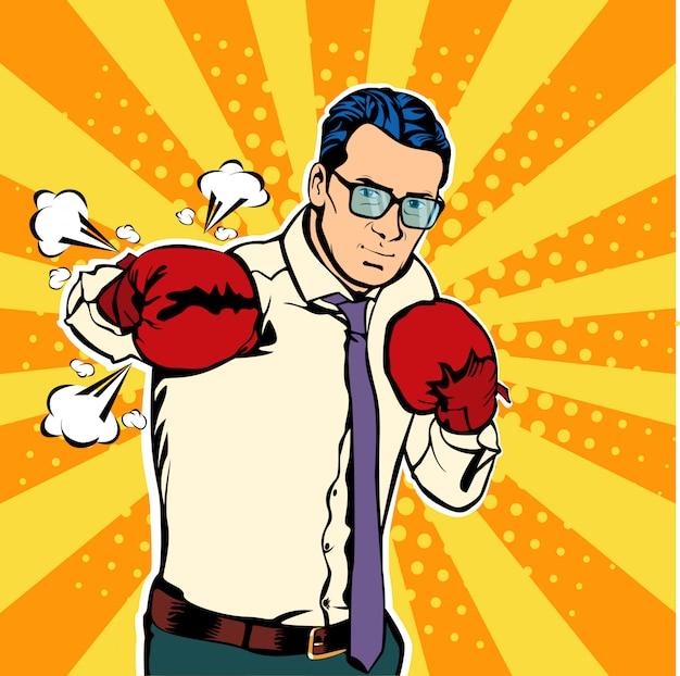 Homme d'affaires de pop art dans des combats de gants de boxe