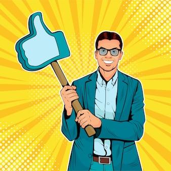 Homme d'affaires de pop art avec geste similaire sur un bâton en bois