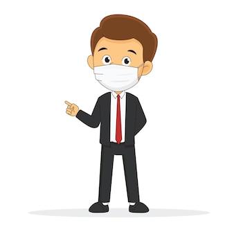 Homme d'affaires portant un masque facial protéger covid-19