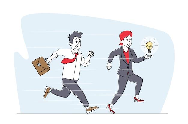 Homme d'affaires avec porte-documents et femme tenant une ampoule rougeoyante en cours d'exécution. concours de personnages d'affaires