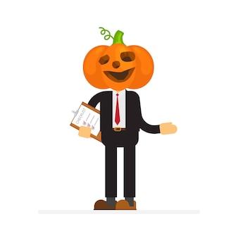 Homme d'affaires, porter, citrouille halloween