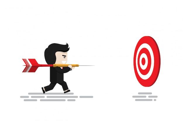 Homme d'affaires porter une grande fléchette rouge en cours d'exécution pour cibler le jeu de fléchettes, personnage de design plat, élément d'illustration, concept financier