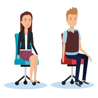 Homme d'affaires posant sur la conception de bureau chaise illustration vectorielle