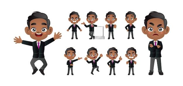 Homme d'affaires avec des poses différentes.