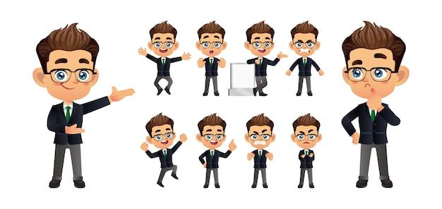 Homme d'affaires avec des poses différentes