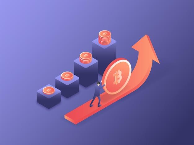 Homme d'affaires poussant le bitcoin pour augmenter le taux d'illustration vectorielle isométrique 3d