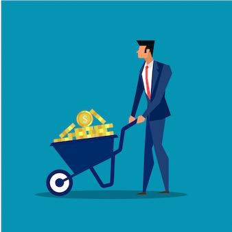 Homme d'affaires en poussant la brouette dans le concept commercial de profit.