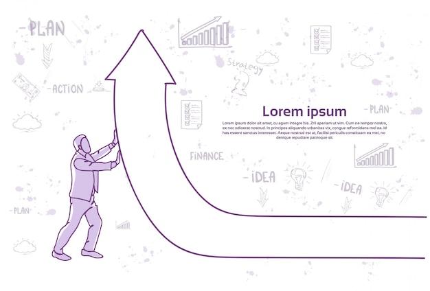 Homme d'affaires en poussant la flèche financière vers le haut. modèle de texte. concept de croissance et de réussite financière