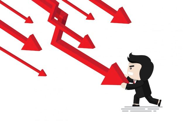 Homme d'affaires en poussant la flèche pour arrêter de tomber dans le graphique de la flèche, personnage de design plat, élément d'illustration, concept financier
