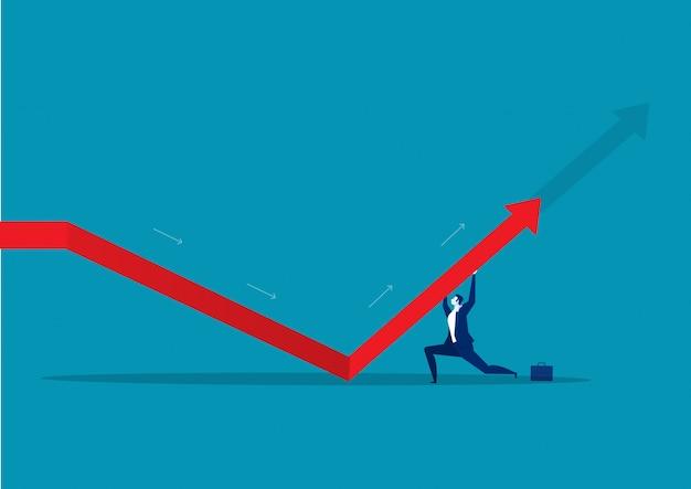 Homme d'affaires pousse la flèche vers le haut. sur fond bleu
