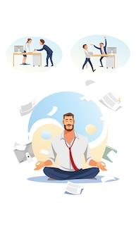 Homme d'affaires pratiquant le yoga au travail vecteur plat