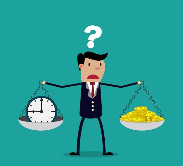 Homme affaires, prendre décision, entre, temps, ou, argent