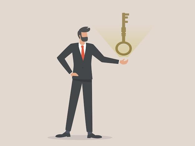 Homme d'affaires présente les grandes clés, concept de résolution de problèmes