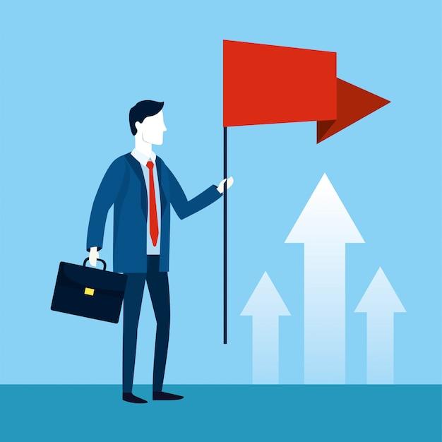 Homme d'affaires professionnel avec drapeau et drapeau rouge